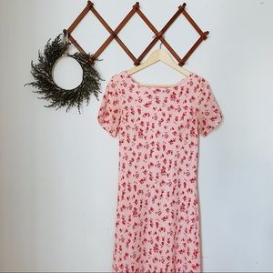 maxi rose floral 90's style dress